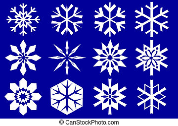 Snowflakes collection Isolated on the blue