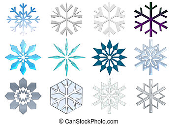 Snowflakes collection Isolated