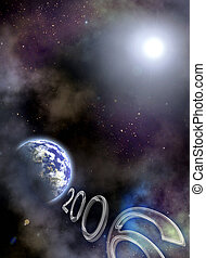 2006 Year are coming - Space scenario. Earth in the space,...