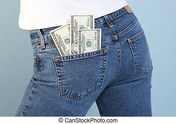 money in your pocke - 100 dollar bills in back jeans pocket