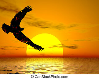 Fire Eagle Sunrise - Fire eagle soaring in a brilliant sun