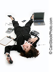 Business Woman Stres - Young businesswoman laying on floor...