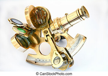 Sextant - A small brass sextant used for navigation