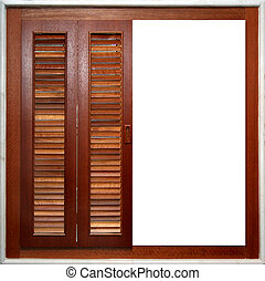 Window Frame - A half-open wooden window frame, lined with...
