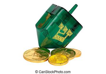 Dreidel and Gelt - Green Dreidel and Gelt (Candy Coins)