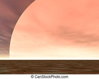 Desert Sunrise - Enormous sun rising above the desert sands