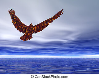 Eagle Soaring - Eagle soaring through blue and cloudy skies