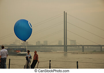 Balloon on the embankment of Dusseldorf