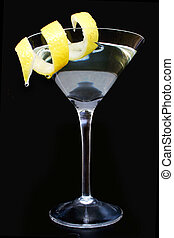 Citrus Martini - Martini cocktail on black with twist of...