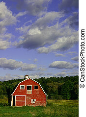 Beautiful Day - Beautiful red barn with bright blue sky...