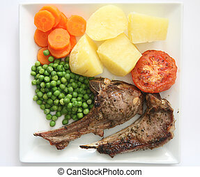 Lamb chops dinner 1 - Marjoram and lemon marinated lamb...