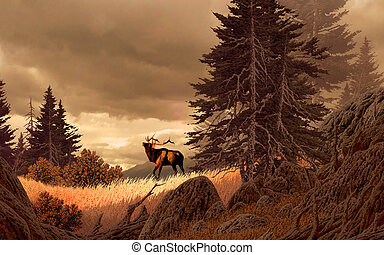 Rocky Mountain Elk - Image from an original 15x24 painting...