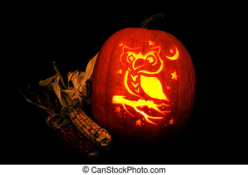 Jack-O-Lantern - image of an owl carved into a pumpkin with...