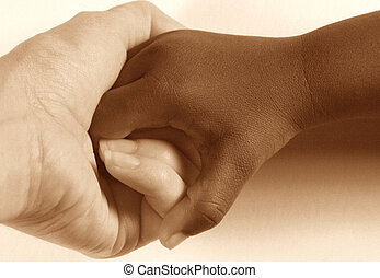 Diversity - Hands - Caucasian adult holding hands with an...