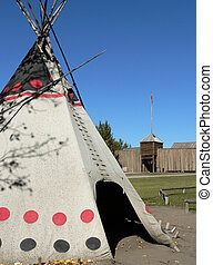 Tepee and Fort - Canvas tepee and Hudsons Bay Company fur...