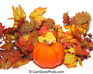 Colors of Autumn - Pumpkin and autumn leaves