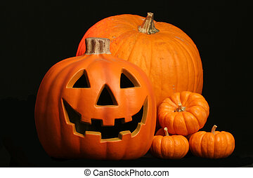 jack o lantern with - seasonal harvest of squash and a...