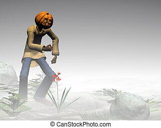 Halloween, pumpkin jack, foggy forest. - Halloween, pumpkin...