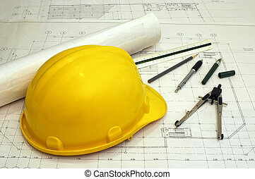Architectural Plans - Floor plans and a hard hat with...
