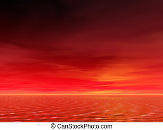 Ocean sunrise - Brilliant red sunrise over the sea