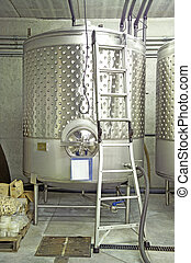 Winery-Single Vat - A single steel vat in a winery 14MP...