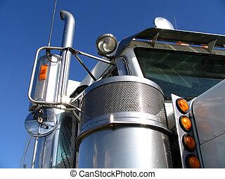 blanco, camión, 2