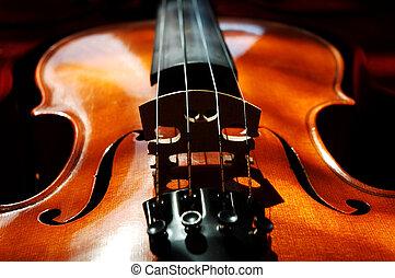 Violin on dark red velvet