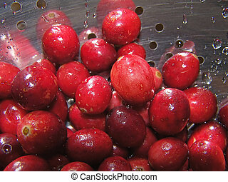Berries - Washed cranberries in strainer