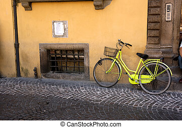 Bicycle - A Bicycle Parked In The Old City Of Lucca, Italy
