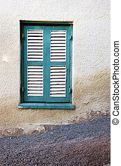 Window #2 - Turquois and white shuttered window