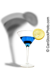 Blue Cocktail - Blue curacao cocktail with lemon slice and...