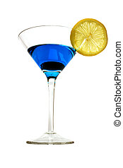 Isolated Blue Cockta - Isolated blue curacao and lemon...