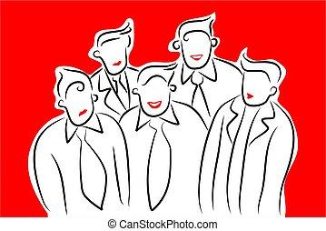 business team - modern line art