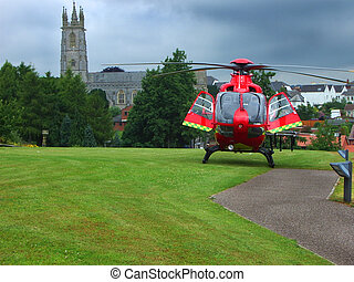 Air Ambulance - Air ambulance parked in front of church