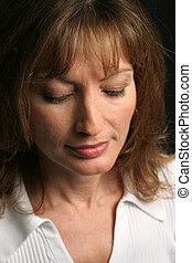 Brunette Beauty - Sad - A beautiful brunette woman, looking...