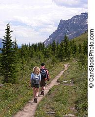 Banffs Helen Lake Trail - Hikers on Helen Lake Trail in...