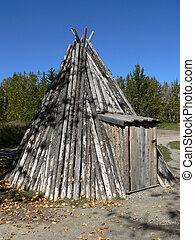 Pole Tepee - Pole tepee at Heritage Park, Calgary, Alberta,...