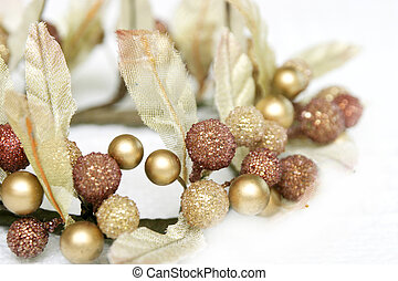Golden Christmas Decoration - Close up of a christmas...