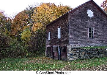 Autumn Barn - A rustic barn with autumn leaves and trees...