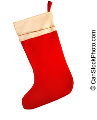christmas stocking - isolated red and white christmas...