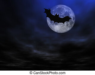 Halloween background, flying bats