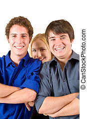 Business People 15 - Three business partners smiling, two...