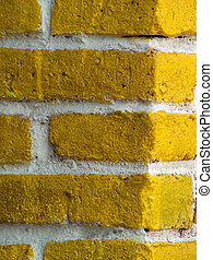 yellow_brick - particular of a yellow bricks\' wall in...