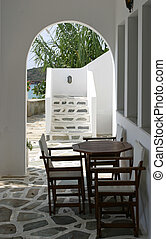 Cycladic terrace - Cycladic architecture detail - terrace...