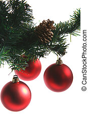 Red baubles - 3 red baubles hanging from green fir sprig and...