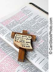 Words of Jesus - An opened bible showing the red print used...