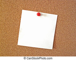 bulletin board - blank note tacked to cork bulletin board