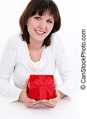 Woman in White with Red Gift Box - Beautiful young woman...