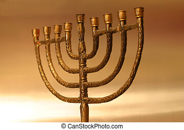 Hanukkah menorah - Golden Hanukkah menorah