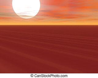 Endless Desert - White sun rising above an endless desert